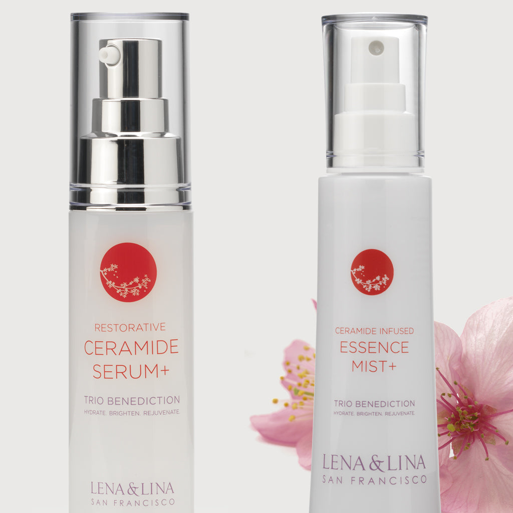 Restorative Serum & Ceramide Infused Essence Mist - Lena & Lina San Francisco – Simple Effective Japanese Skincare Beauty and Wellness Brand | Art Science of Traditional Asian Fermentation | Trio Benediction Collection – Hydrating, Brightening & Anti-aging | Luxurious & Effective Skincare | JAPANSESKINCARE |