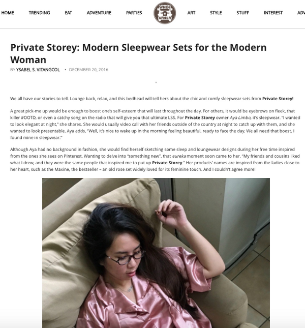 Private Storey: Modern Sleepwear Sets for the Modern Woman by When in Manila