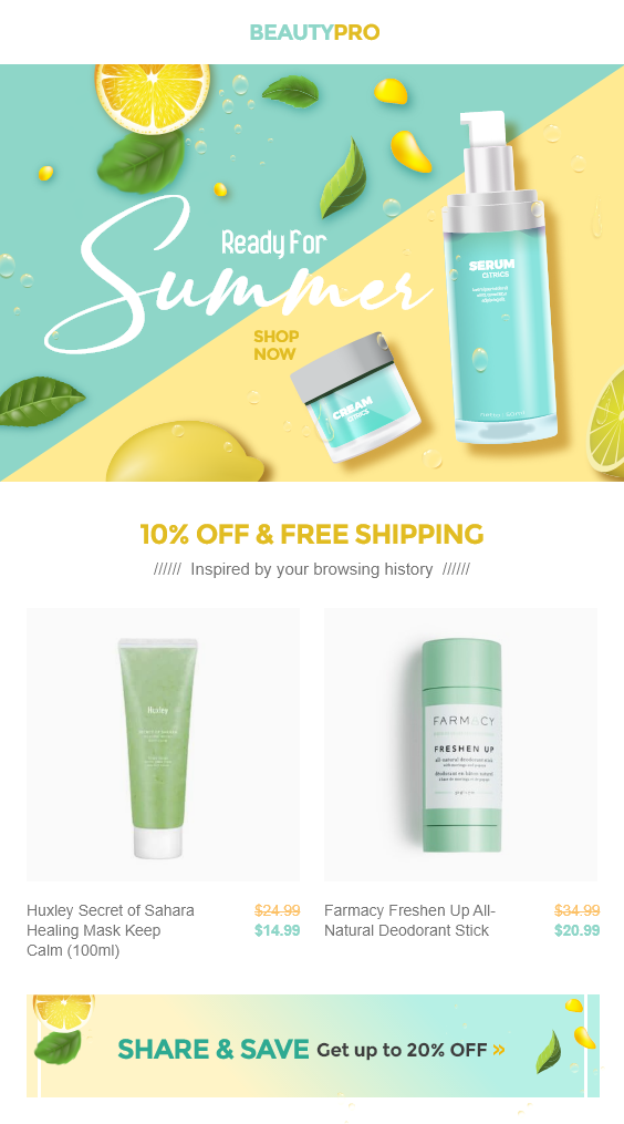 Costmetic Shopify Store eCommerce Email Template