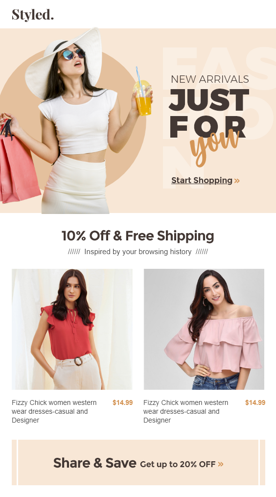 Fashion Clothing Shopify Store eCommerce Email Template