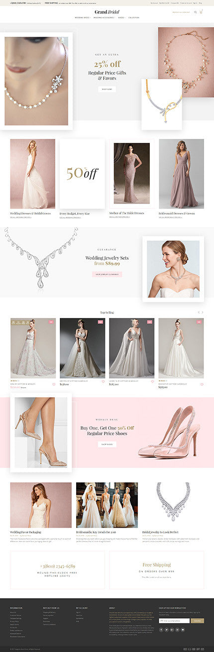 Grand Bridal Magento Website - GoWebBaby.Com