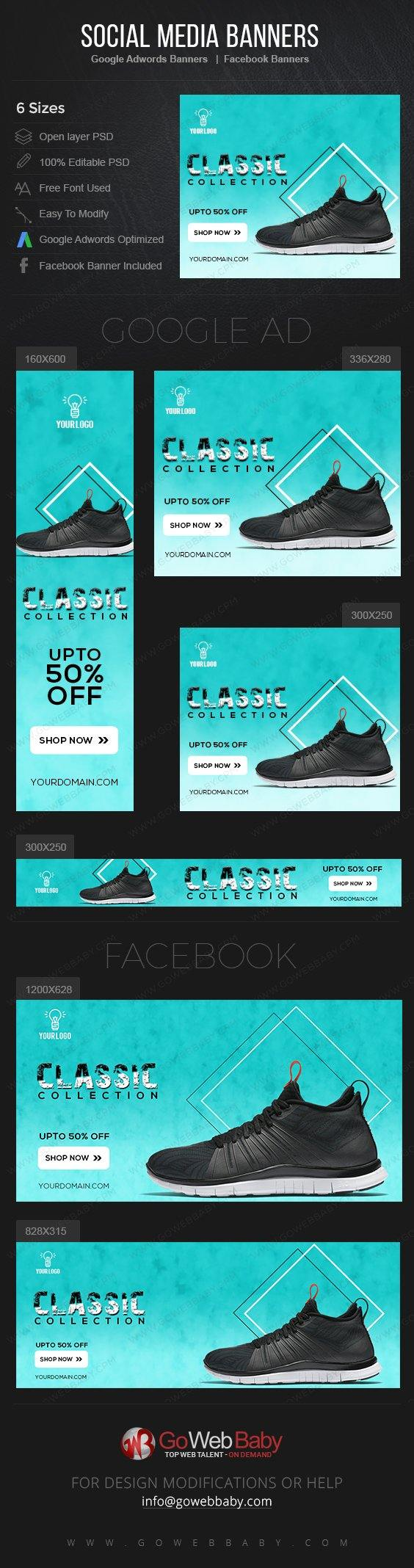 Google Adwords Display Banner with Facebook banners - Sneakers For Men - GoWebBaby.Com