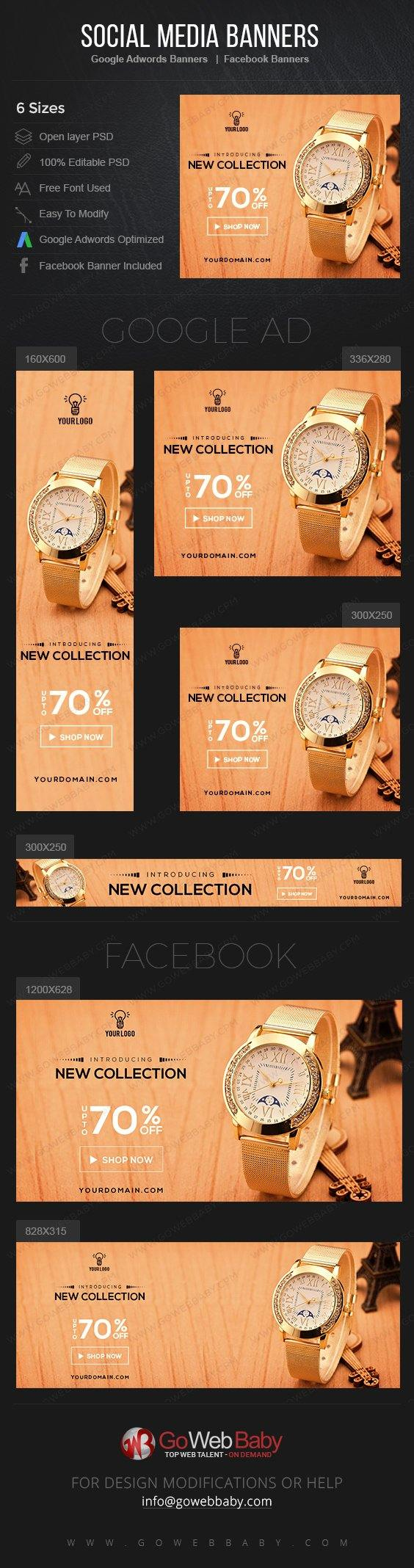Google Adwords Display Banner With Facebook Banners - Luxury Watch For Men - GoWebBaby.Com