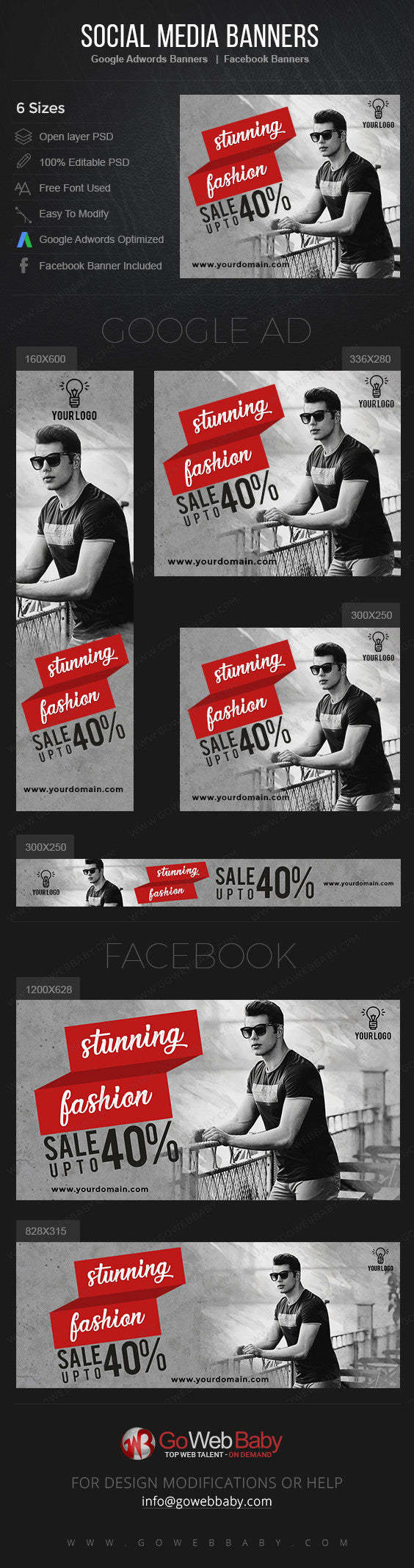 Google Adwords Display Banner with Facebook banners -Stunning Fashion for Men for Website Marketing - GoWebBaby.Com