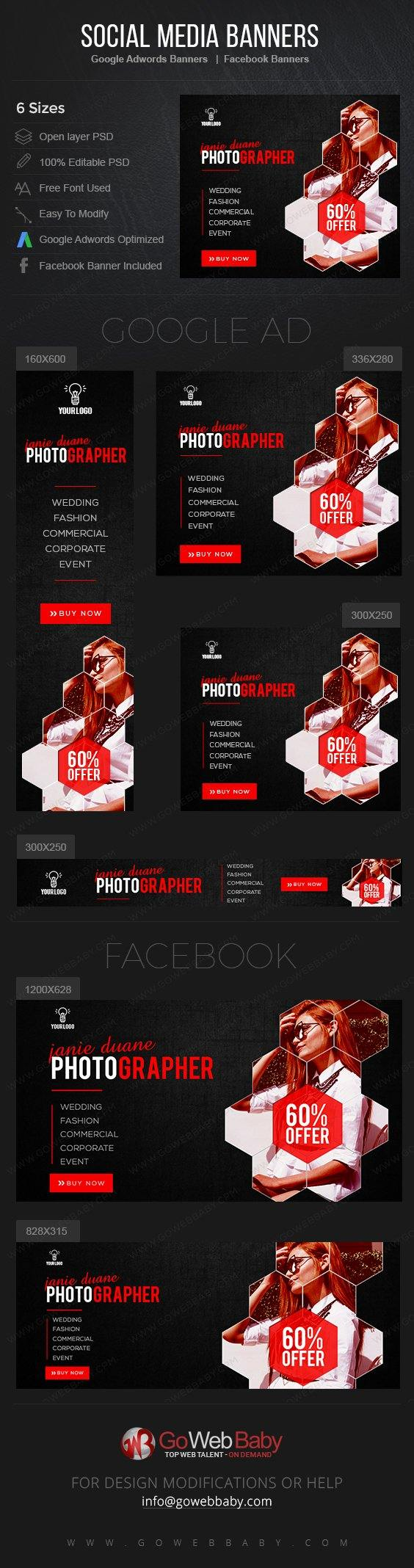 Google Adwords Display Banner with Facebook Banners - Photography For Website Marketing - GoWebBaby.Com