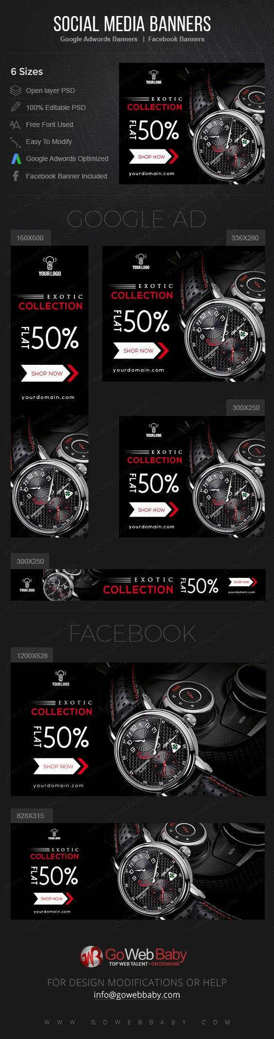 Google Adwords Display Banner With Facebook Banners - Exotic Watches For Men - GoWebBaby.Com