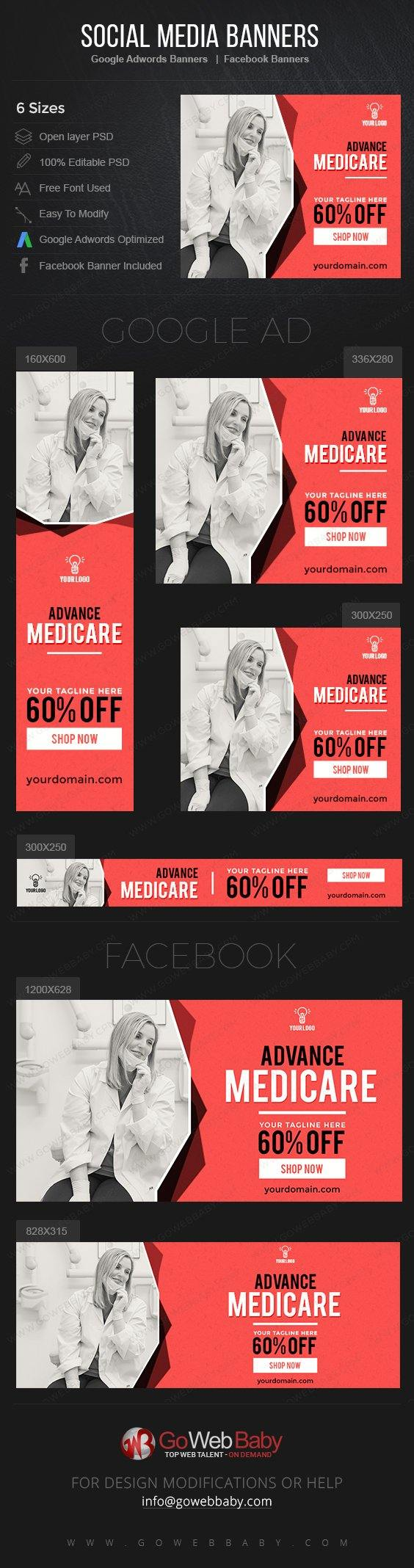 Google Adwords Display Banner with Facebook banners - Medicare For Website Marketing - GoWebBaby.Com