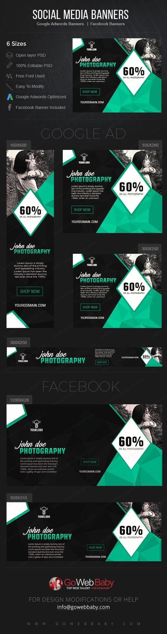 Google Adwords Display Banner with Facebook Banners - Fashion Photography For Website Marketing - GoWebBaby.Com