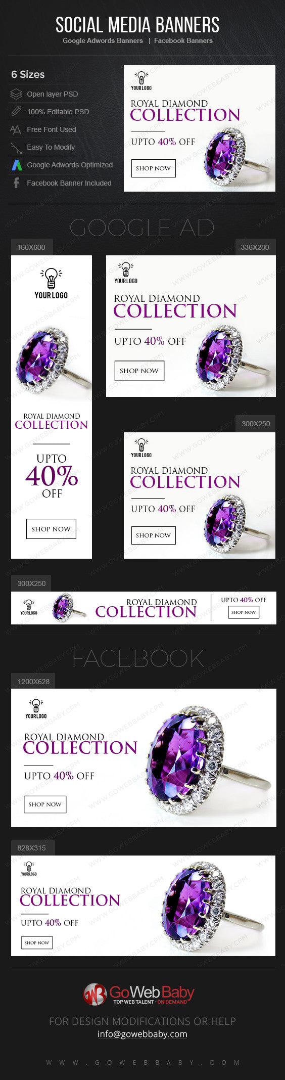 Google Adwords Display Banner with Facebook banners - Royal Diamond Store Website Marketing - GoWebBaby.Com