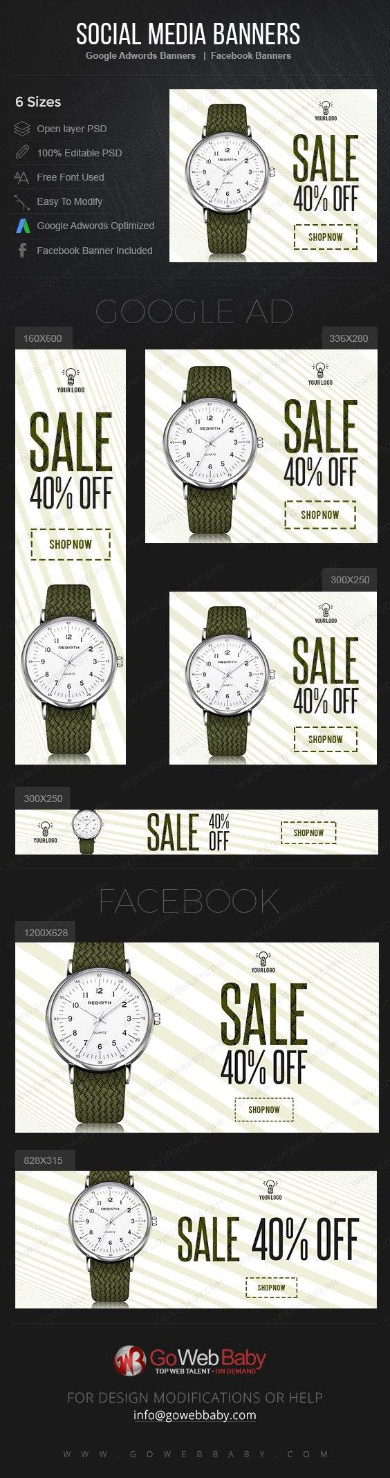 Google Adwords Display Banner With Facebook Banners - Elegant Watch For Men - GoWebBaby.Com
