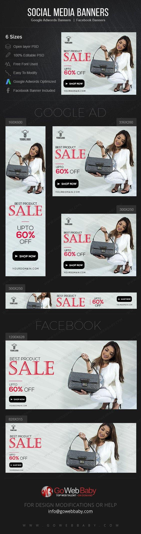 Google Adwords Display Banner With Facebook Banners - Elegant Bags For Website Marketing - GoWebBaby.Com