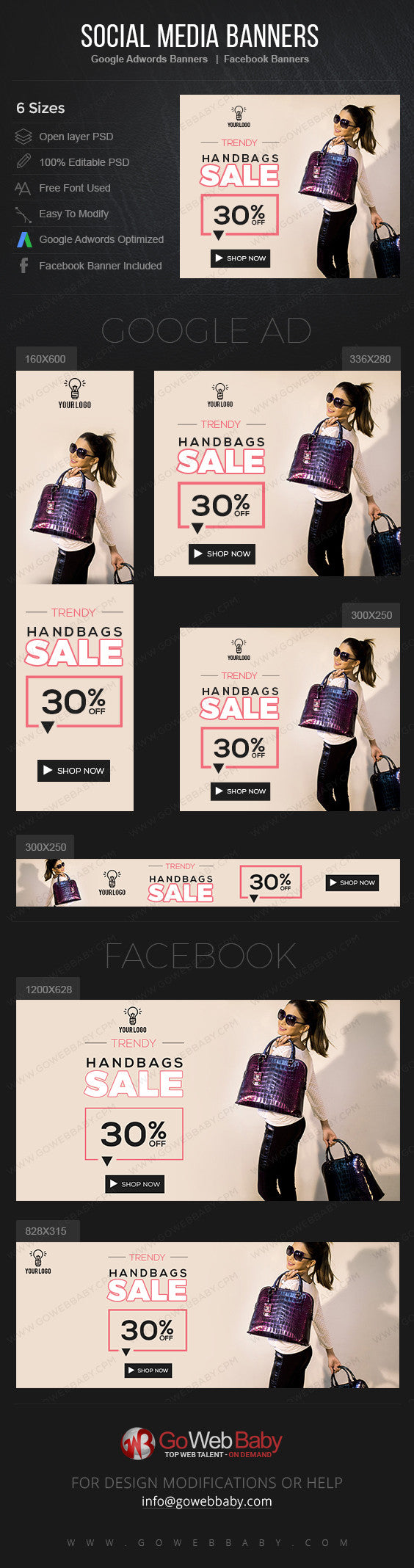 Google Adwords Display Banner with Facebook Banners -Women's Handbags For Website Marketing - GoWebBaby.Com