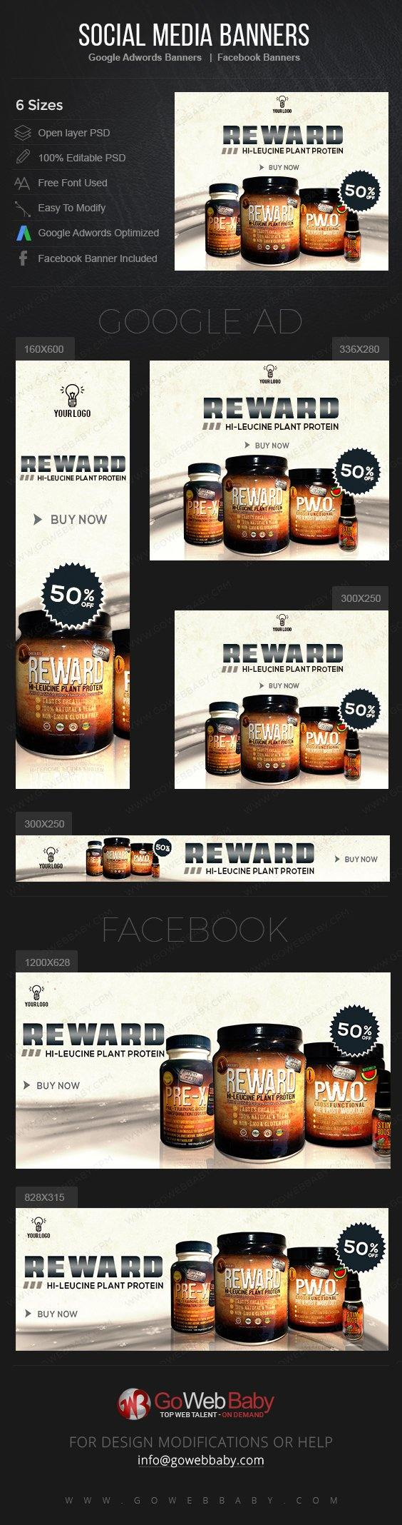 Google Adwords Display Banner with Facebook banners - Nutrition Product For Website Marketing