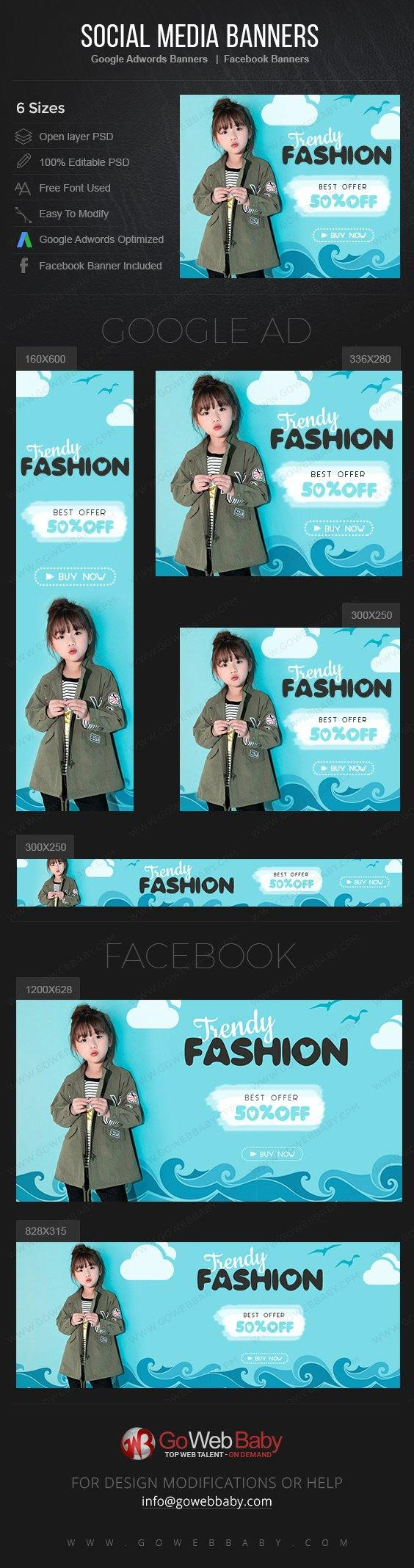 Google Adwords Display Banner with Facebook banners -Trendy Kids Wear For Website Marketing - GoWebBaby.Com
