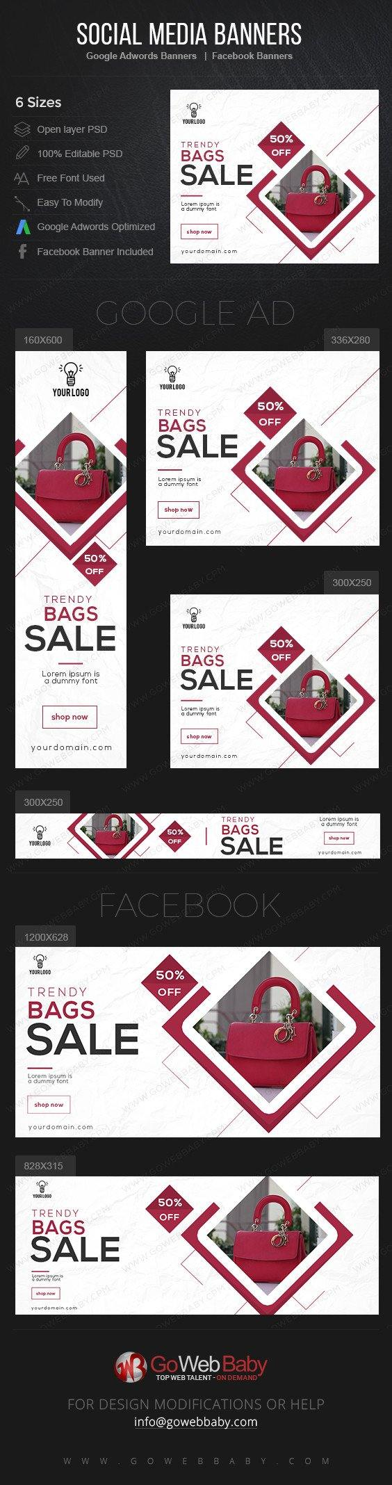 Google Adwords Display Banner With Facebook Banners - Stylish Bags Boutique For Website Marketing - GoWebBaby.Com