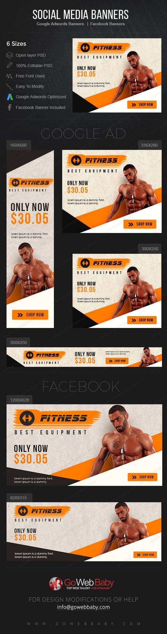 Google Adwords Display Banner with Facebook banners - Fitness and Health For Website Marketing - GoWebBaby.Com