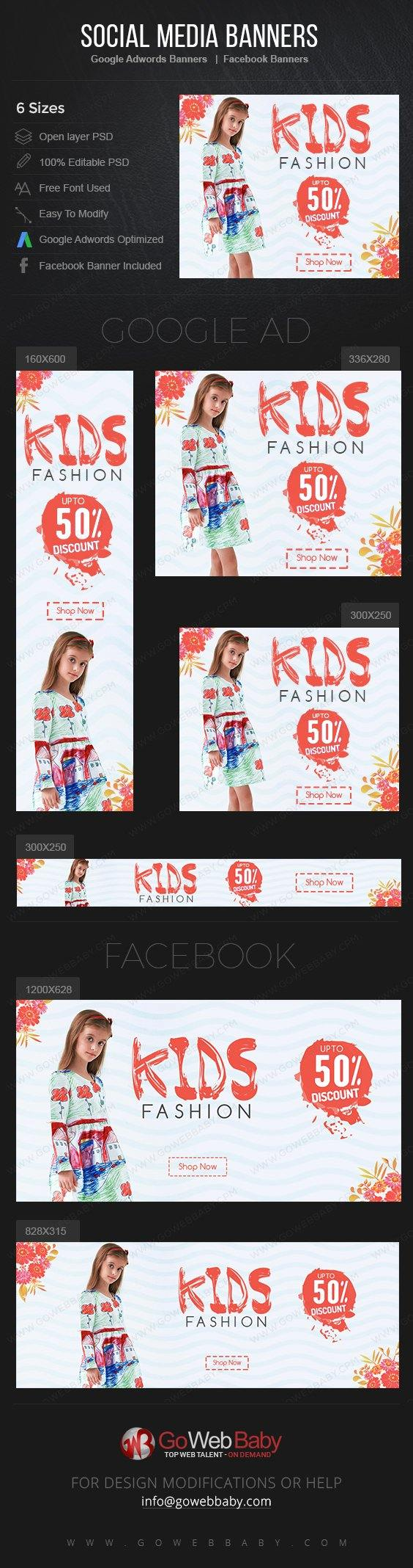 Google Adwords Display Banner with Facebook banners -Kids Fashion For Website Marketing - GoWebBaby.Com