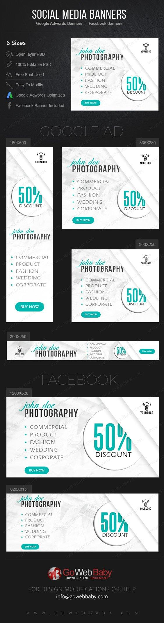 Google Adwords Display Banner with Facebook Banners - Creative Photography For Website Marketing - GoWebBaby.Com