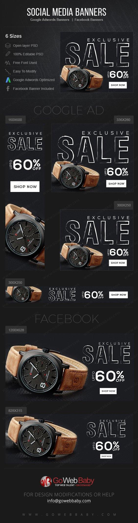 Google Adwords Display Banner With Facebook Banners - Exclusive Watch For Men - GoWebBaby.Com