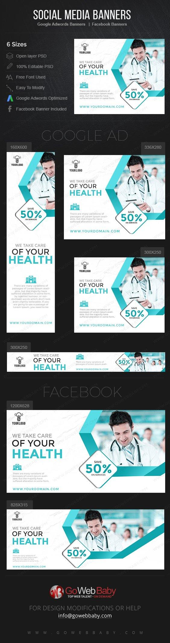 Google Adwords Display Banner with Facebook banners - Medical and Health For Website Marketing - GoWebBaby.Com