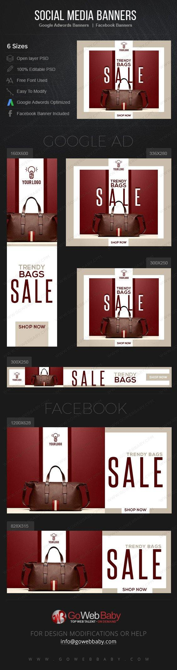 Google Adwords Display Banner With Facebook Banners - Trendy Bags For Website Marketing - GoWebBaby.Com