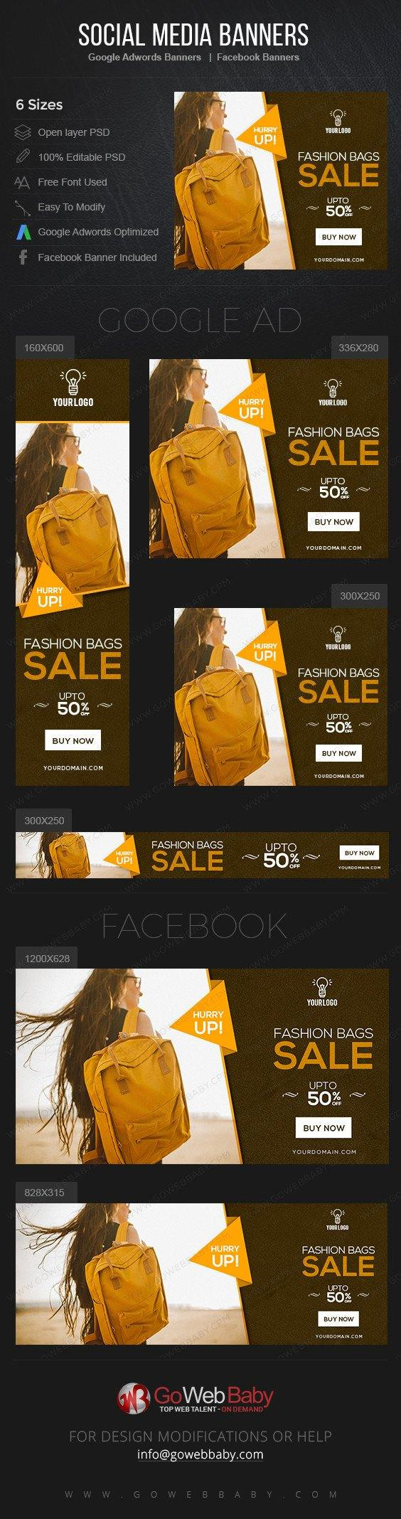Google Adwords Display Banner With Facebook Banners - Fashion Bags For Website Marketing - GoWebBaby.Com