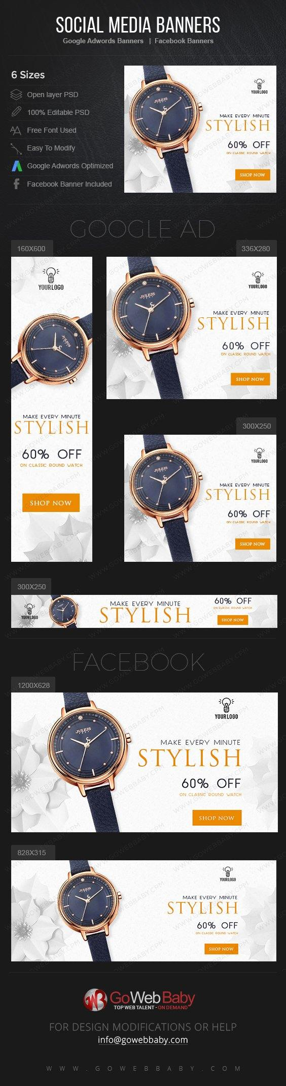 Google Adwords Display Banner With Facebook Banners - Stylish Watch For Website Marketing - GoWebBaby.Com