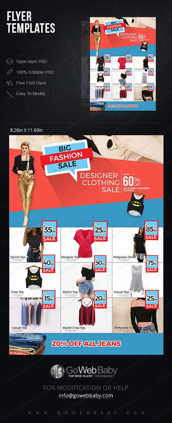 Flyer templates - Women's clothing for website marketing - GoWebBaby.Com