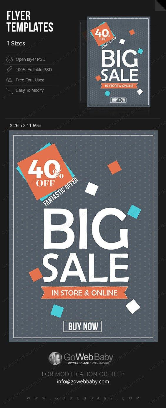 Big Sale Black & Grey elegant pattern Flyer for website marketing - GoWebBaby.Com