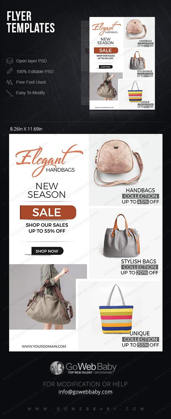 Flyer templates - Classic designer bags for website marketing