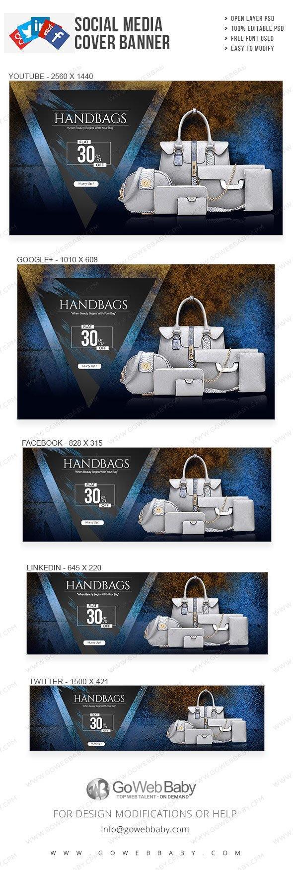Social Media Cover Banner - Fashion Handbag Catalogue For Website Marketing - GoWebBaby.Com