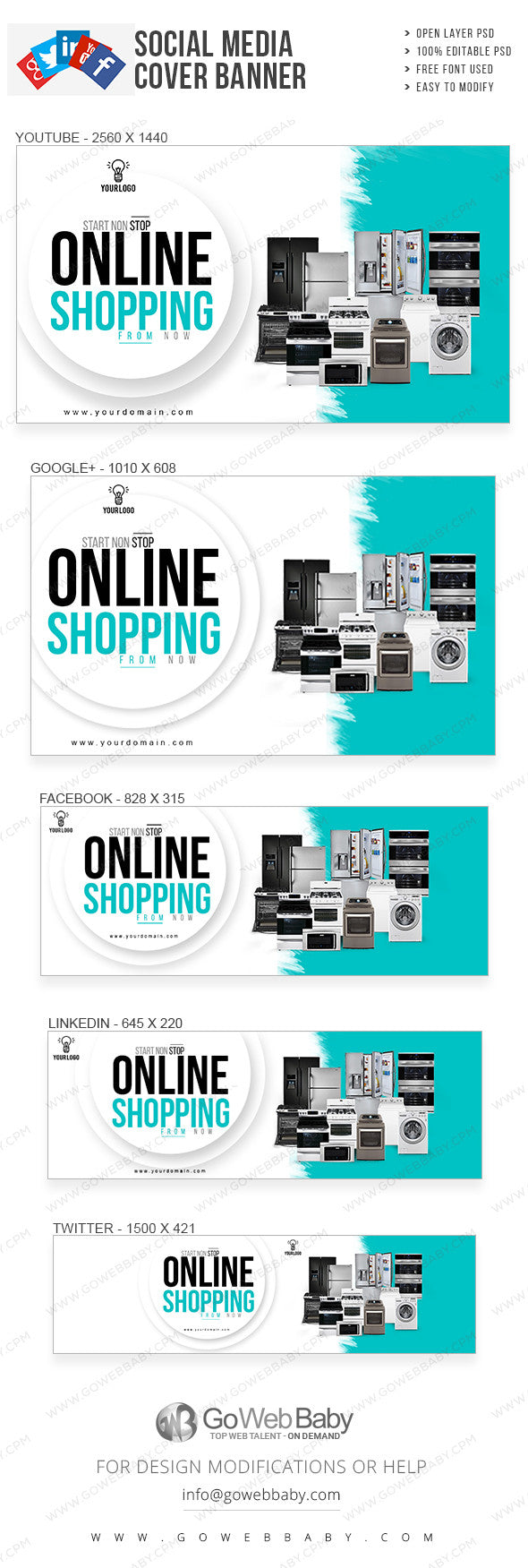 Social media covers Banner - Electronic sale  for website marketing