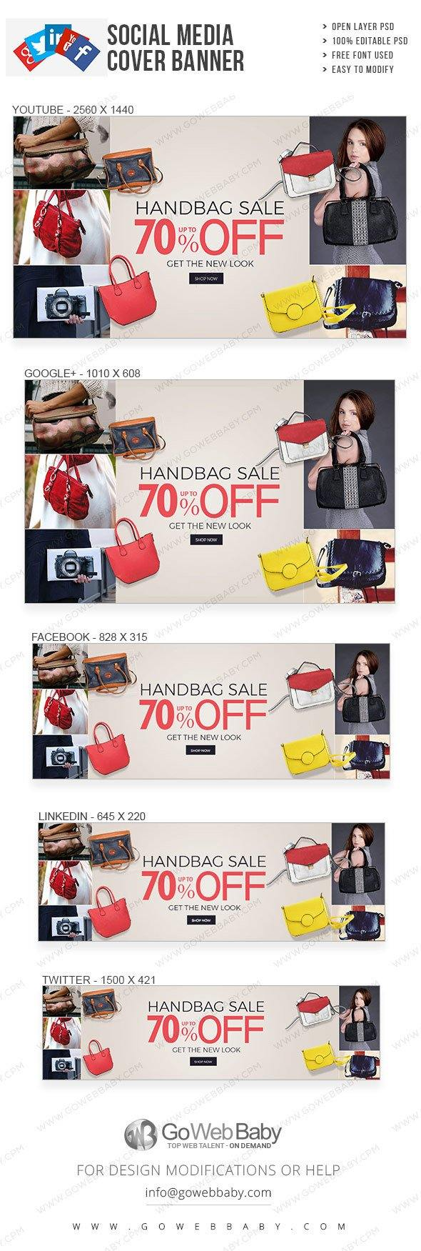 Social Media Cover Banner - Fashionable Handbags For Website Marketing