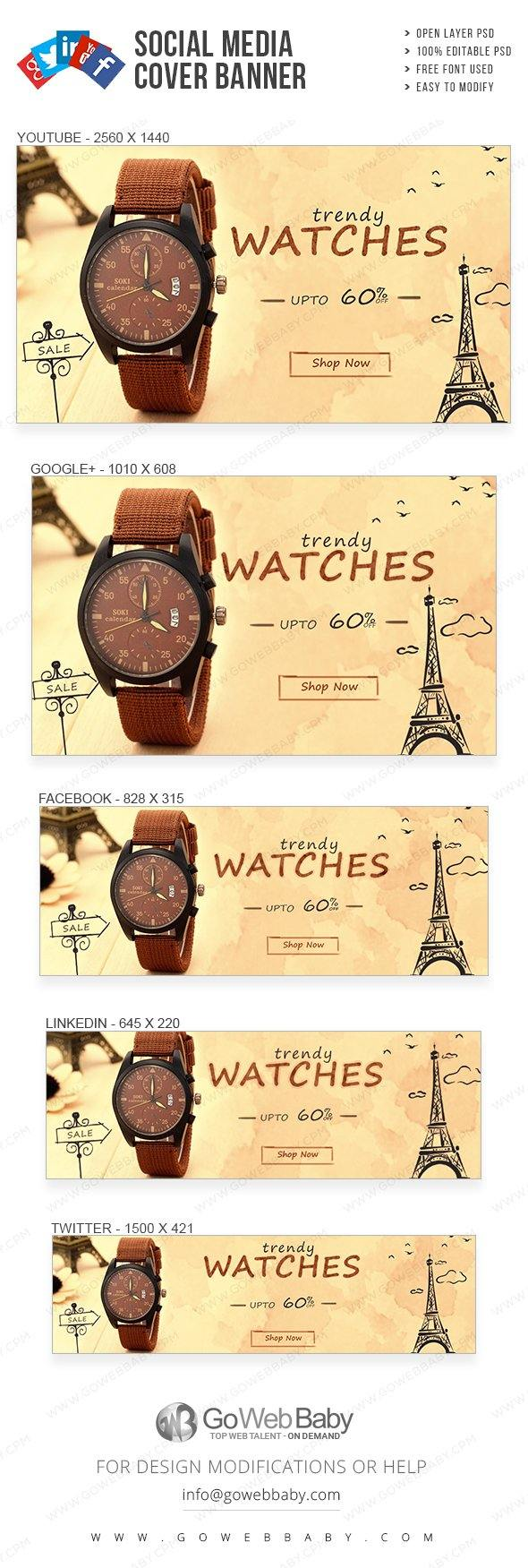 Social Media Cover Banner - Trendy Watch Collection For Website Marketing