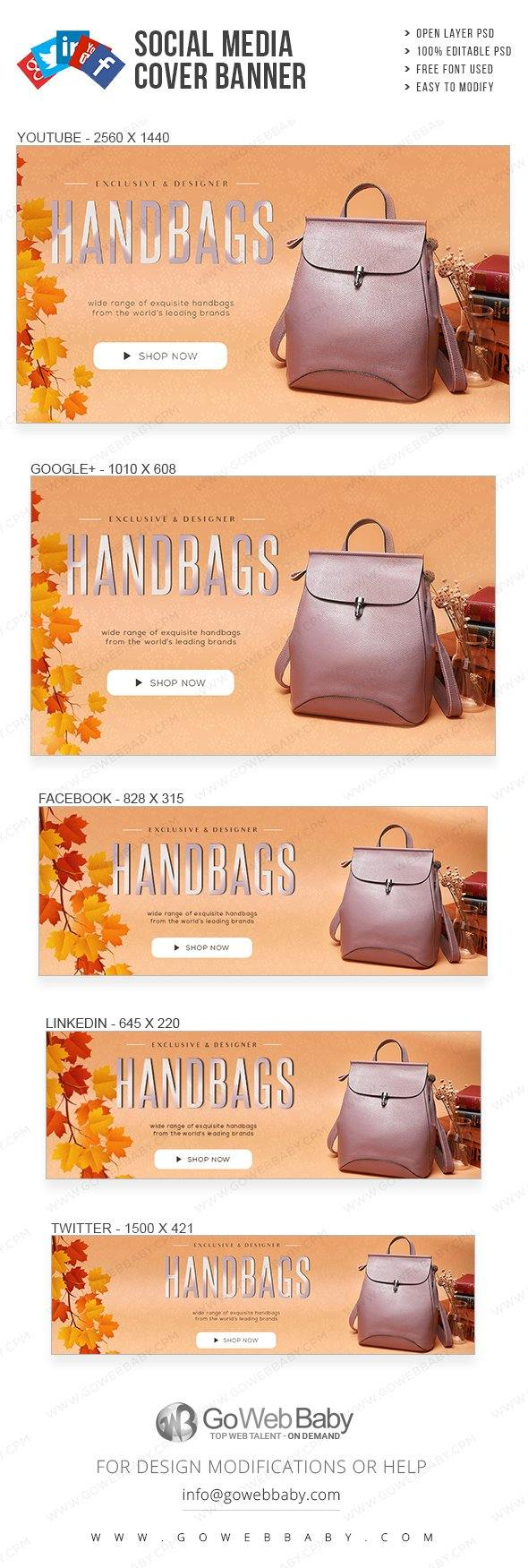 Social Media Cover Banner - Designer Handbags For Website Marketing - GoWebBaby.Com
