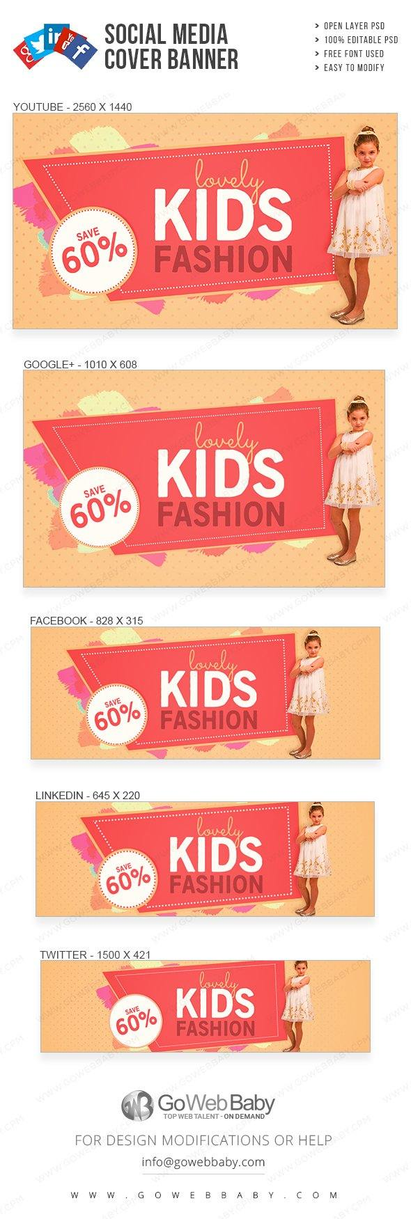 Social Media Cover Banner - Fashion for Kids For Website Marketing - GoWebBaby.Com