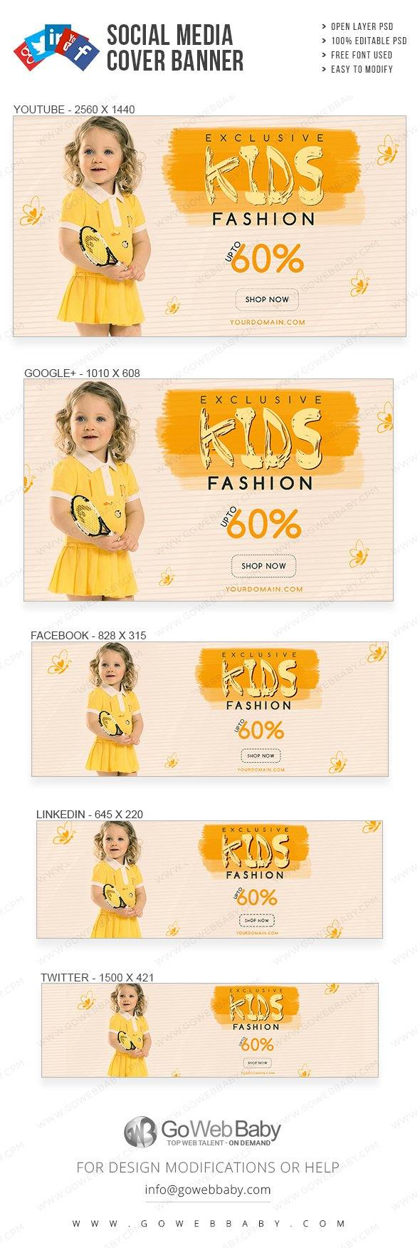 Social Media Cover Banner - Exclusive Kids Fashion For Website Marketing