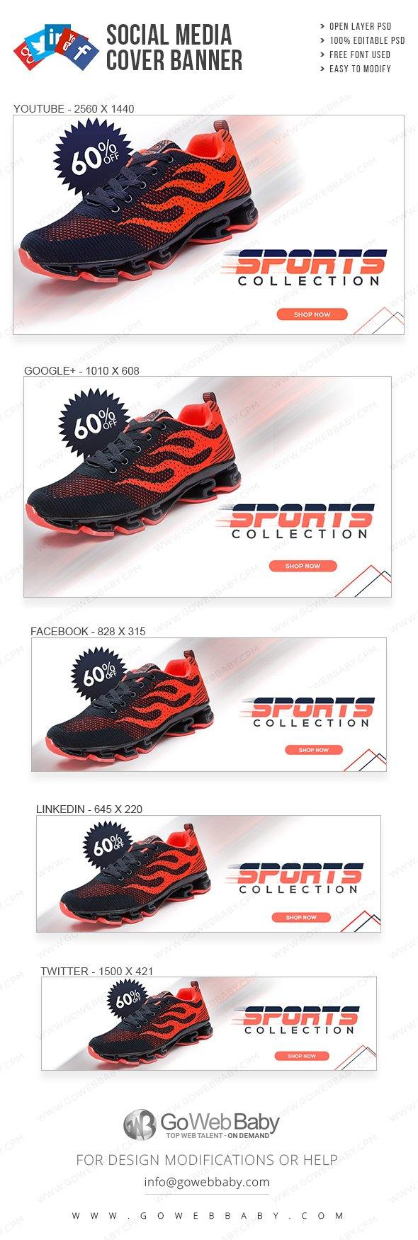 Social Media Cover Banner - Sports Footwear For Website Marketing - GoWebBaby.Com