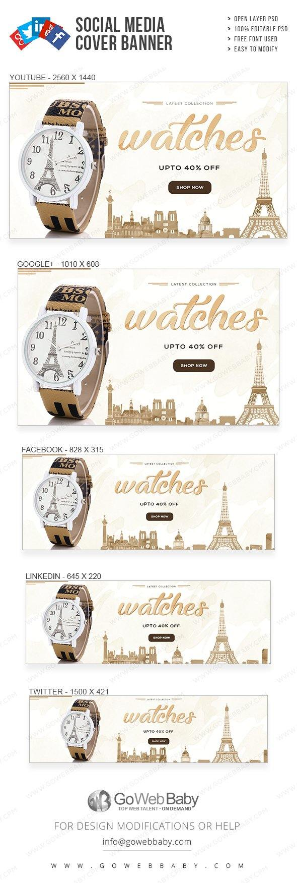Social Media Cover Banner - Watch Collection For Website Marketing