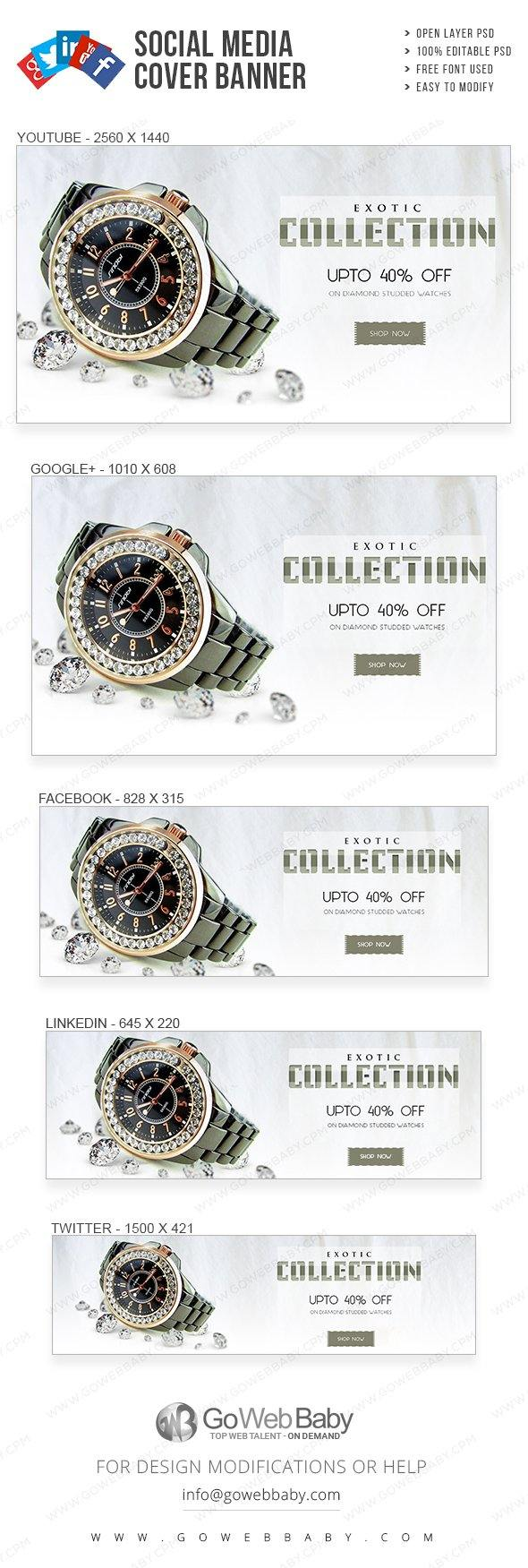Social Media Cover Banner - Exotic Watch Collection For Website Marketing - GoWebBaby.Com