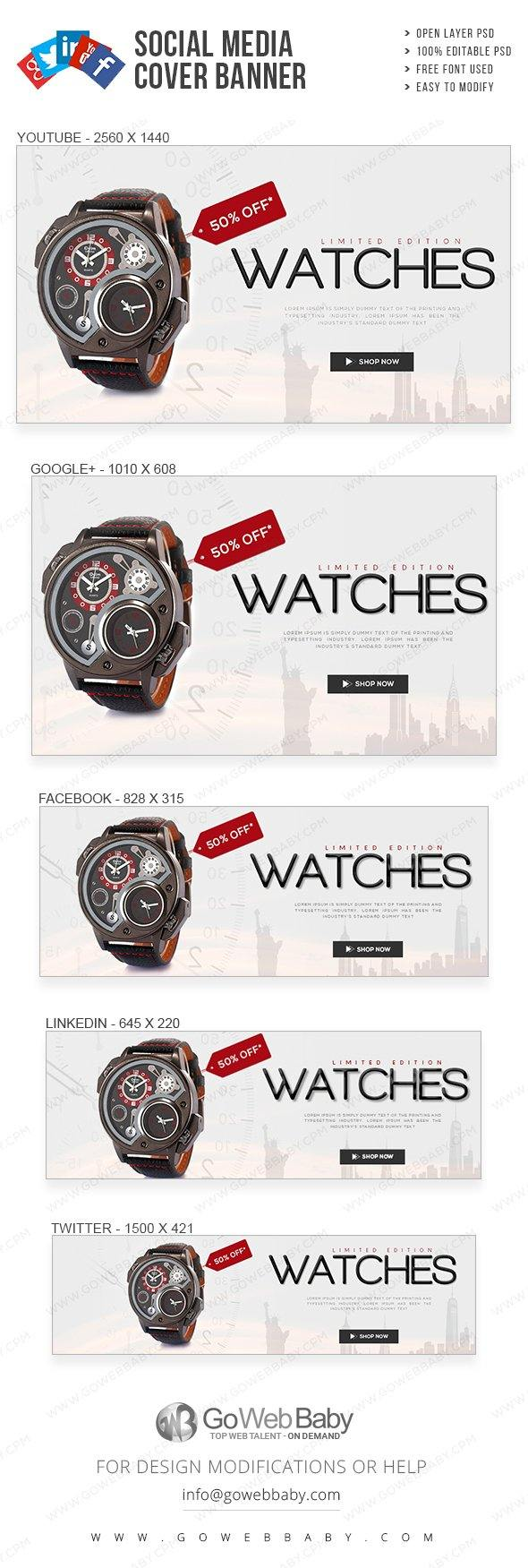 Social Media Cover Banner - Exclusive Watch Collection For Website Marketing - GoWebBaby.Com