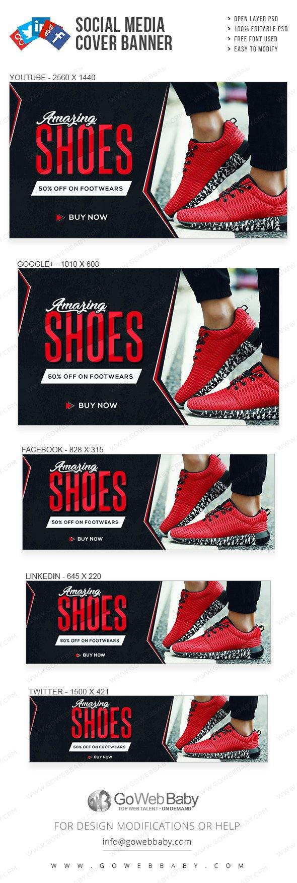 Social Media Cover Banner - Footwear For Website Marketing