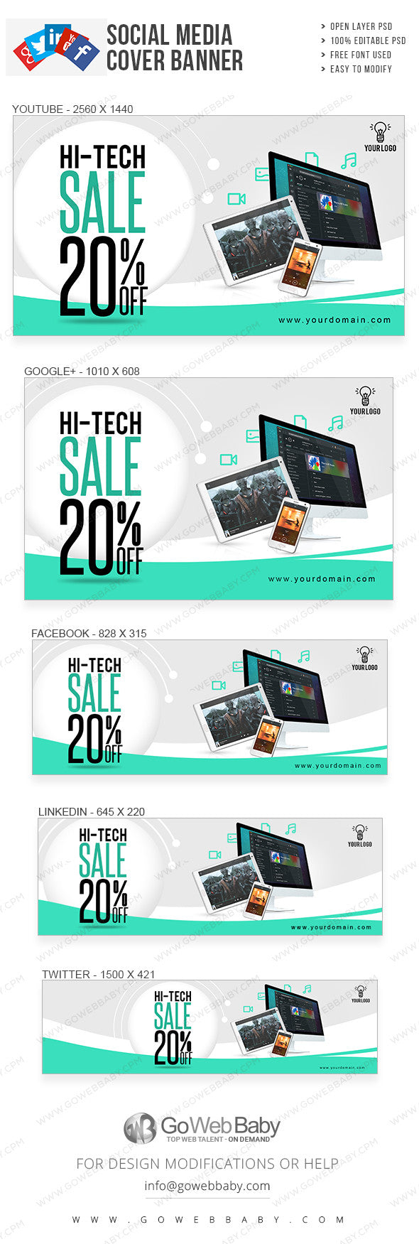 Hi-tech sale social media-covers Banner for website marketing - GoWebBaby.Com