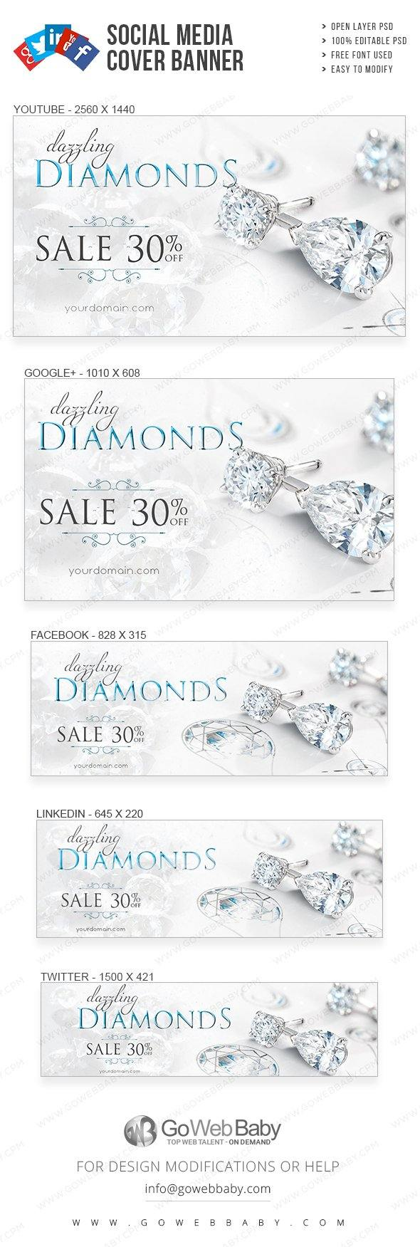 Social Media Cover Banner - Dazzling Jewelry For Website Marketing - GoWebBaby.Com