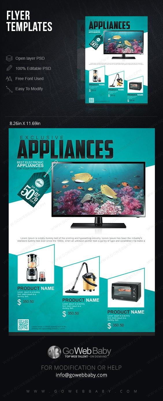 Flyer templates - Exclusive Appliances for website marketing - GoWebBaby.Com