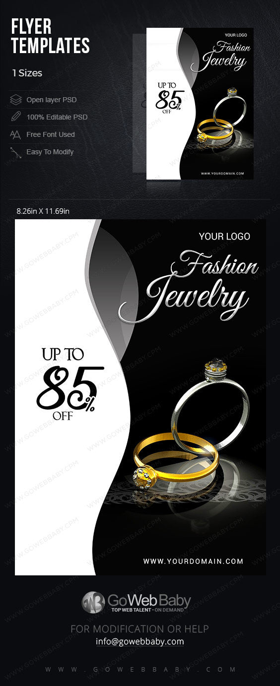 Flyer templates - Fashion jewelry for website marketing - GoWebBaby.Com