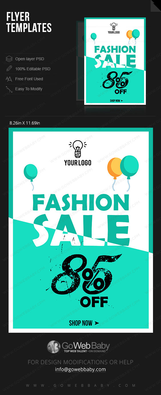 White Turquoise Border Fashion Sale Flyer for Website Marketing - GoWebBaby.Com