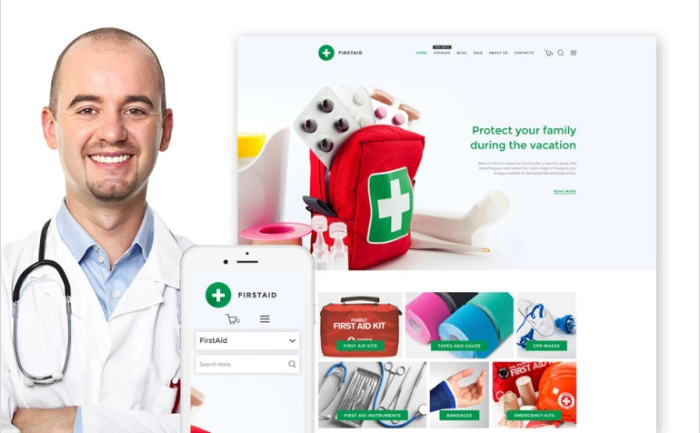 FirstAid - Medical & Healthcare - Shopify Theme & Photoshop Design - GoWebBaby.Com