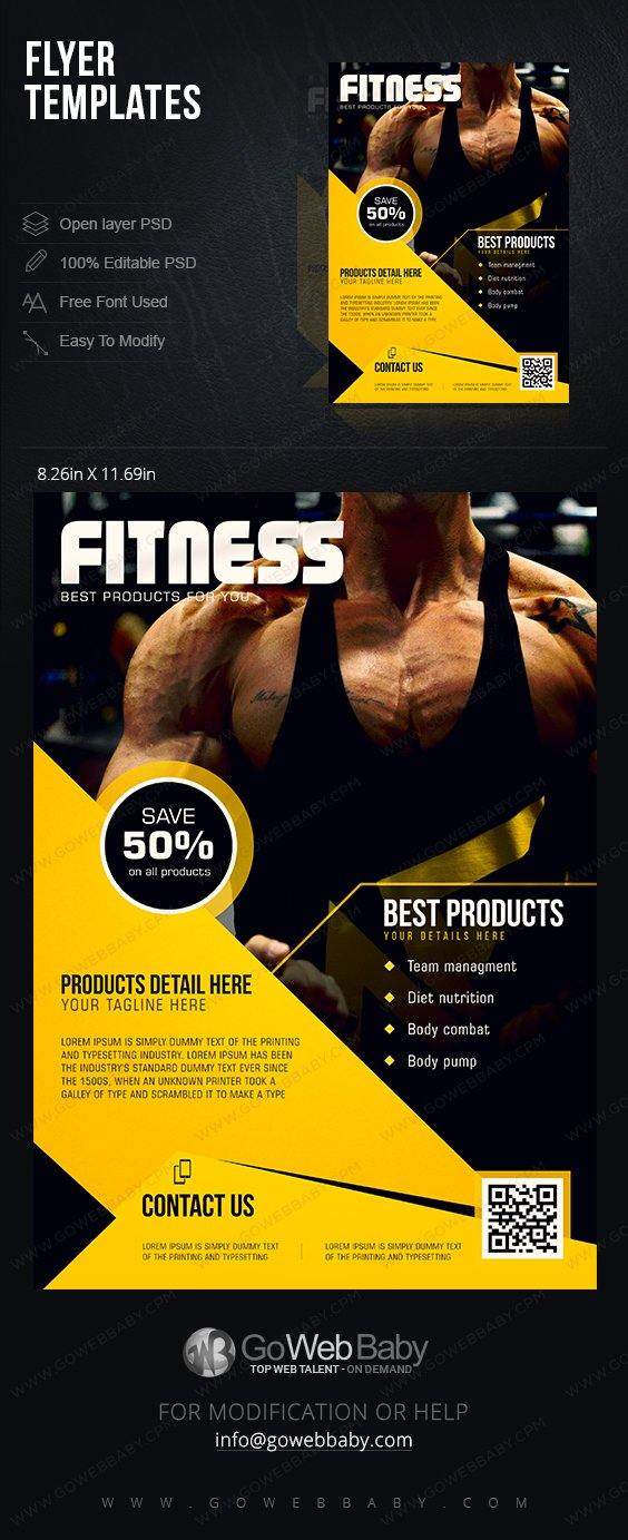 Flyer templates - Fitness & Gym For Website Marketing - GoWebBaby.Com