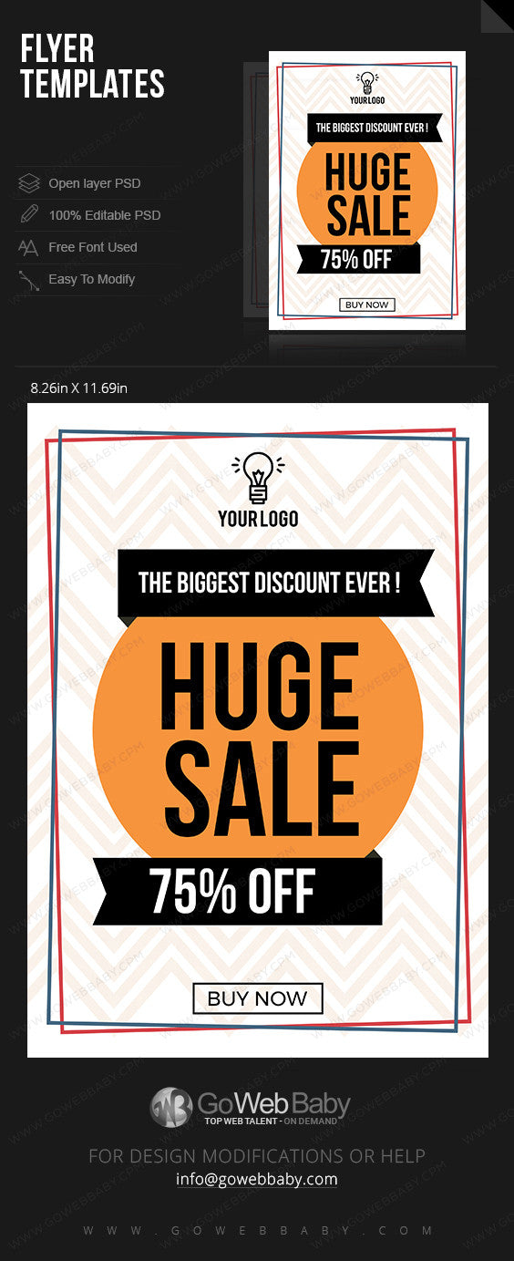 Huge sale flyer for website marketing - GoWebBaby.Com